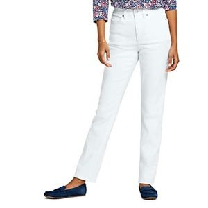 Lands End high rise straight leg White Jeans 2P